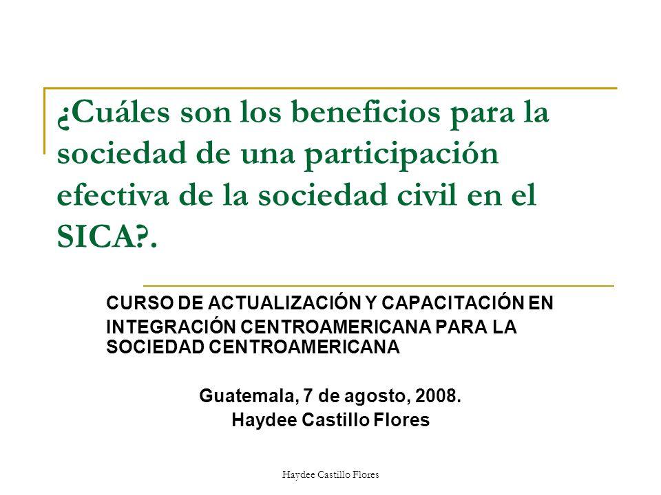 ¿Cuáles son los beneficios para la sociedad de una participación efectiva de la sociedad civil en el SICA?. CURSO DE ACTUALIZACIÓN Y CAPACITACIÓN EN I