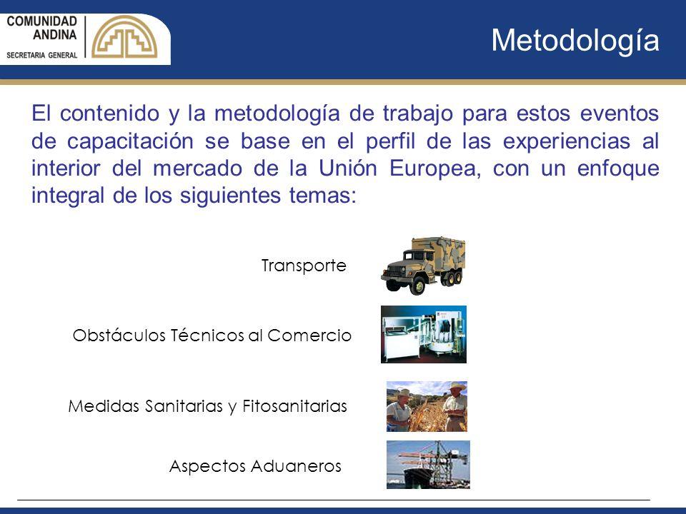 Metodología El contenido y la metodología de trabajo para estos eventos de capacitación se base en el perfil de las experiencias al interior del merca