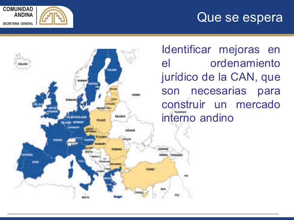 Que se espera Identificar mejoras en el ordenamiento jurídico de la CAN, que son necesarias para construir un mercado interno andino