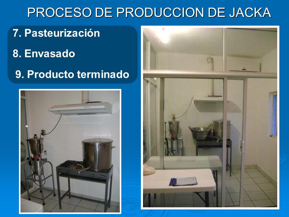 PROCESO DE PRODUCCION DE JACKA 7. Pasteurización 8. Envasado 9. Producto terminado