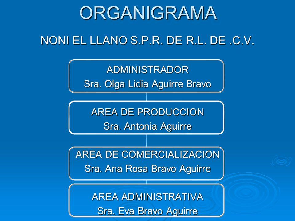 ORGANIGRAMA NONI EL LLANO S.P.R. DE R.L. DE.C.V. ADMINISTRADOR Sra. Olga Lidia Aguirre Bravo AREA DE PRODUCCION Sra. Antonia Aguirre AREA DE COMERCIAL