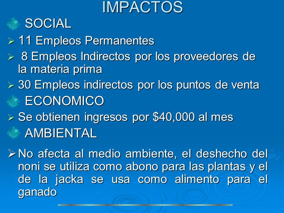 IMPACTOS SOCIAL SOCIAL 11 Empleos Permanentes 11 Empleos Permanentes 8 Empleos Indirectos por los proveedores de la materia prima 8 Empleos Indirectos