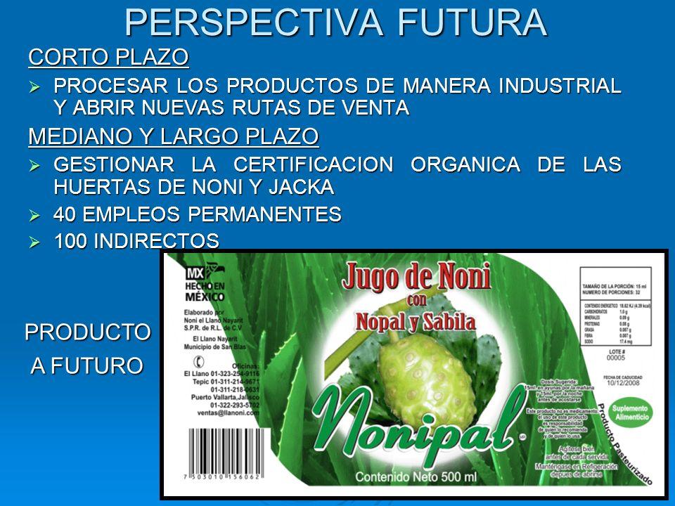 PERSPECTIVA FUTURA CORTO PLAZO PROCESAR LOS PRODUCTOS DE MANERA INDUSTRIAL Y ABRIR NUEVAS RUTAS DE VENTA PROCESAR LOS PRODUCTOS DE MANERA INDUSTRIAL Y