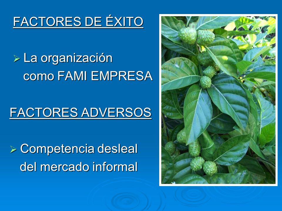 FACTORES DE ÉXITO La organización La organización como FAMI EMPRESA como FAMI EMPRESA FACTORES ADVERSOS Competencia desleal Competencia desleal del me