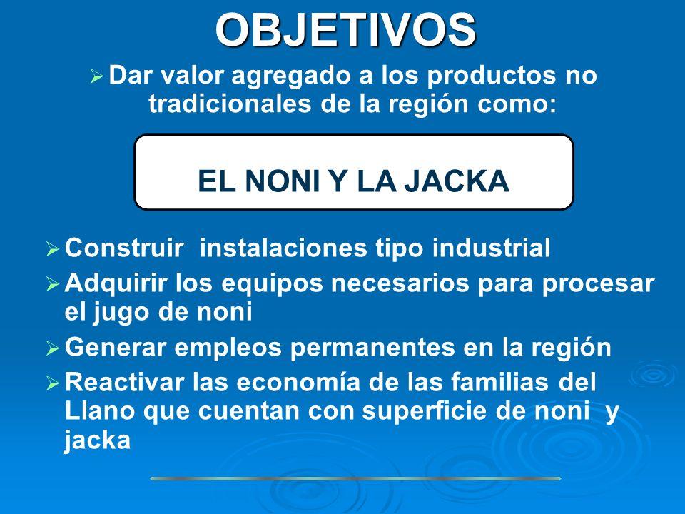 Dar valor agregado a los productos no tradicionales de la región como: OBJETIVOS Construir instalaciones tipo industrial Adquirir los equipos necesari