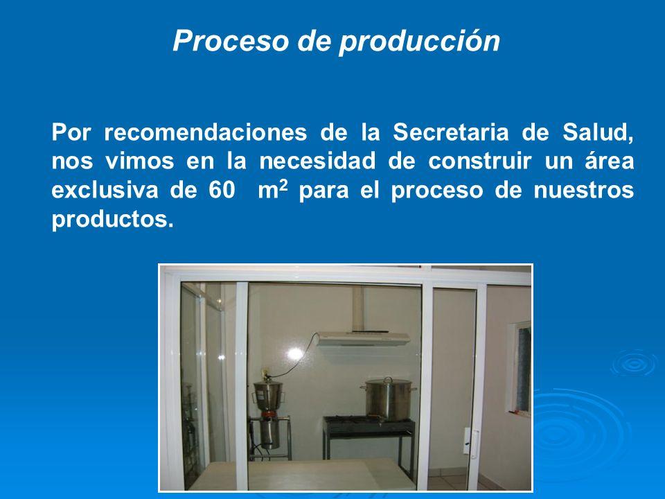 Por recomendaciones de la Secretaria de Salud, nos vimos en la necesidad de construir un área exclusiva de 60 m 2 para el proceso de nuestros producto
