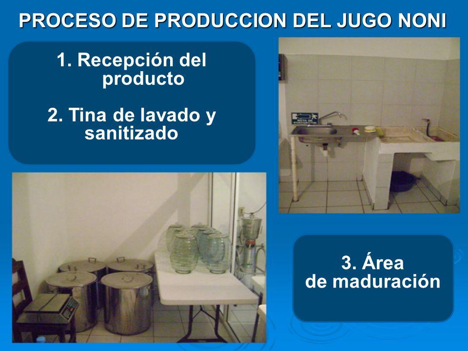 PROCESO DE PRODUCCION DEL JUGO NONI 1. Recepción del producto 2. Tina de lavado y sanitizado 3. Área de maduración