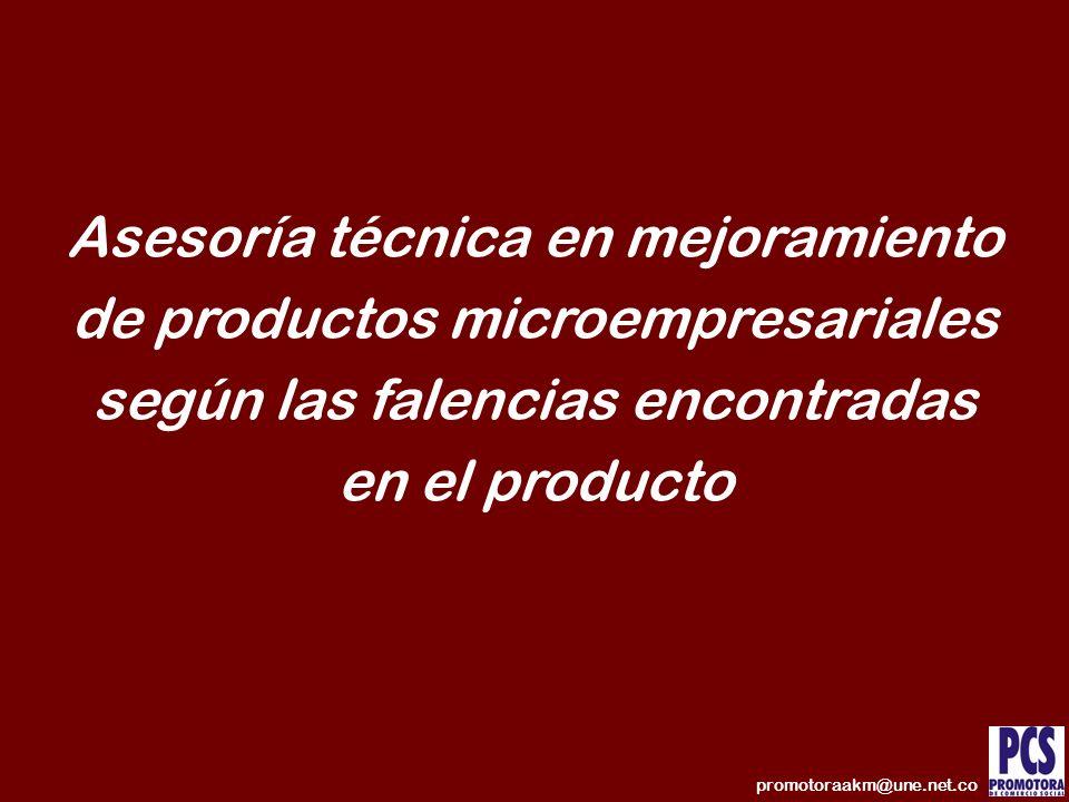 Asesoría técnica en mejoramiento de productos microempresariales según las falencias encontradas en el producto promotoraakm@une.net.co