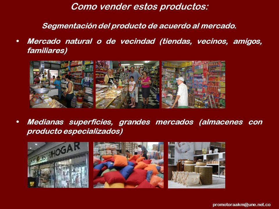 Como vender estos productos: Segmentación del producto de acuerdo al mercado. Mercado natural o de vecindad (tiendas, vecinos, amigos, familiares) Med