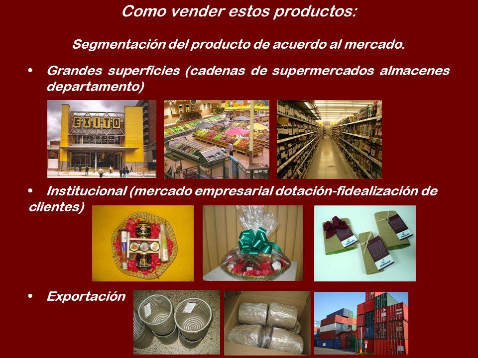 Como vender estos productos: Segmentación del producto de acuerdo al mercado. Grandes superficies (cadenas de supermercados almacenes departamento) In