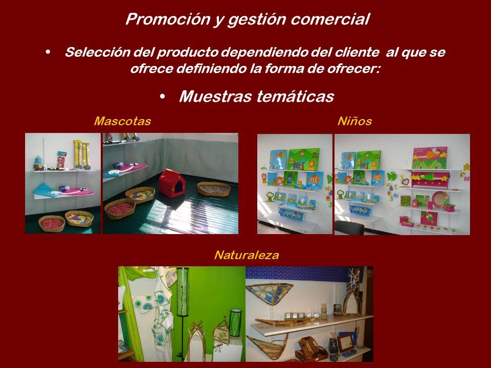 Promoción y gestión comercial Selección del producto dependiendo del cliente al que se ofrece definiendo la forma de ofrecer: Muestras temáticas Masco