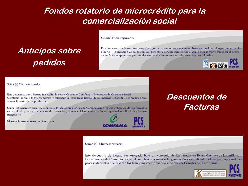 Fondos rotatorio de microcrédito para la comercialización social Anticipos sobre pedidos Descuentos de Facturas