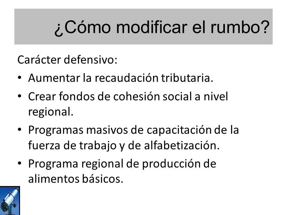¿Cómo modificar el rumbo? Carácter defensivo: Aumentar la recaudación tributaria. Crear fondos de cohesión social a nivel regional. Programas masivos