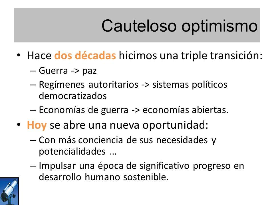 Cauteloso optimismo Hace dos décadas hicimos una triple transición: – Guerra -> paz – Regímenes autoritarios -> sistemas políticos democratizados – Economías de guerra -> economías abiertas.