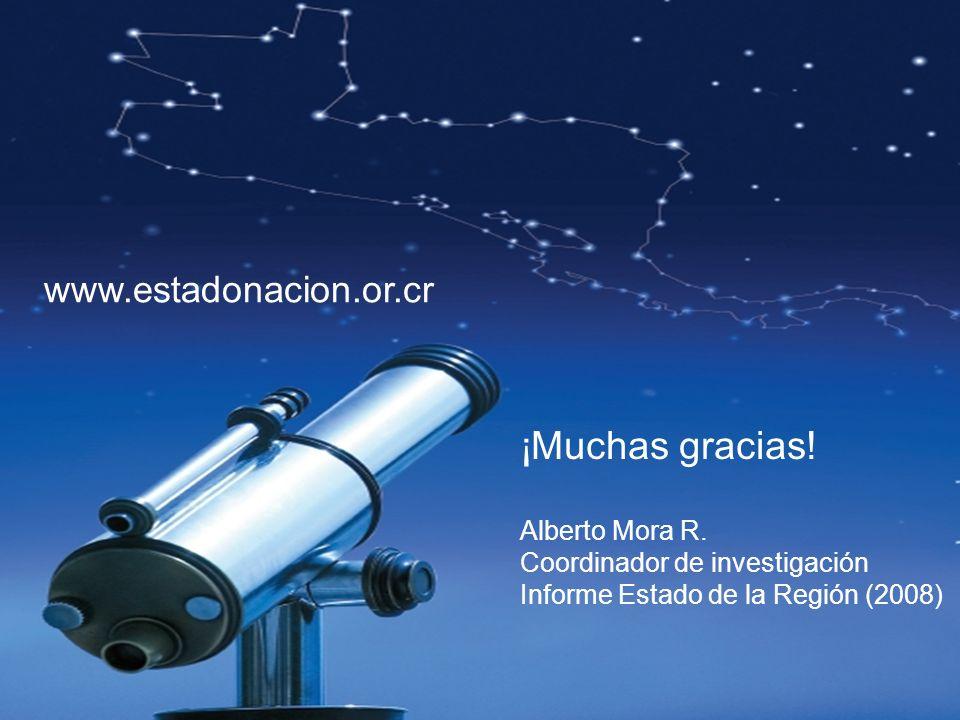 ¡Muchas gracias! Alberto Mora R. Coordinador de investigación Informe Estado de la Región (2008) www.estadonacion.or.cr
