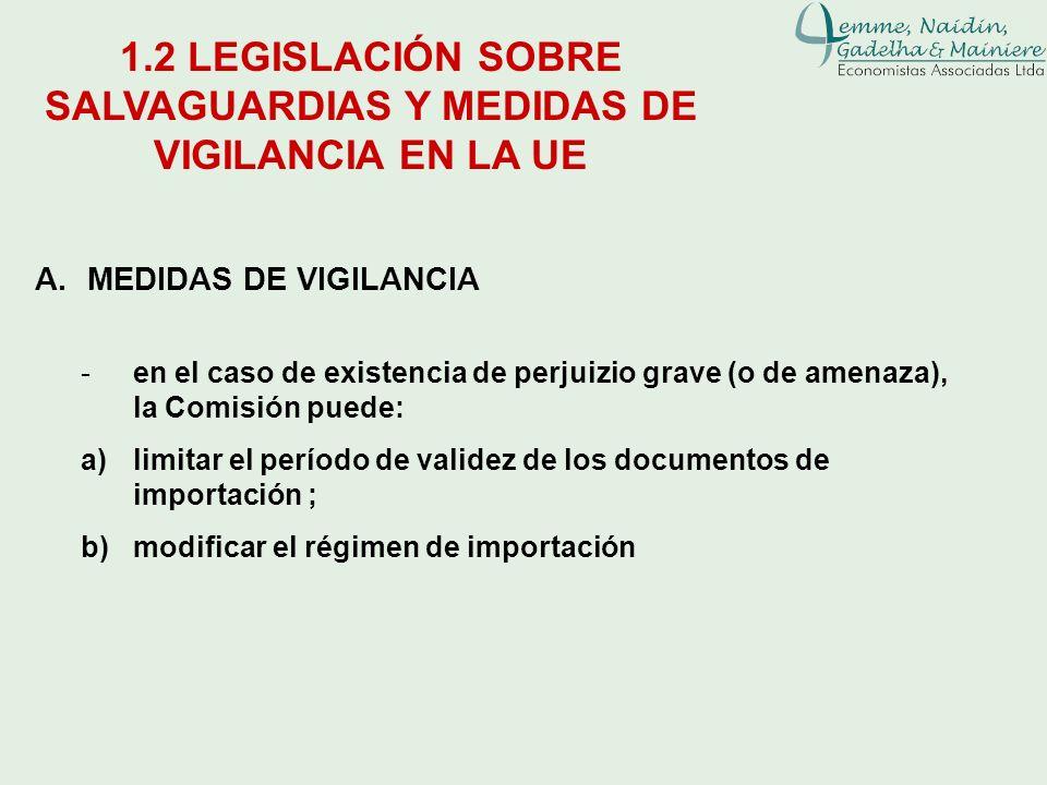 A.MEDIDAS DE VIGILANCIA 1.2 LEGISLACIÓN SOBRE SALVAGUARDIAS Y MEDIDAS DE VIGILANCIA EN LA UE -en el caso de existencia de perjuizio grave (o de amenaz