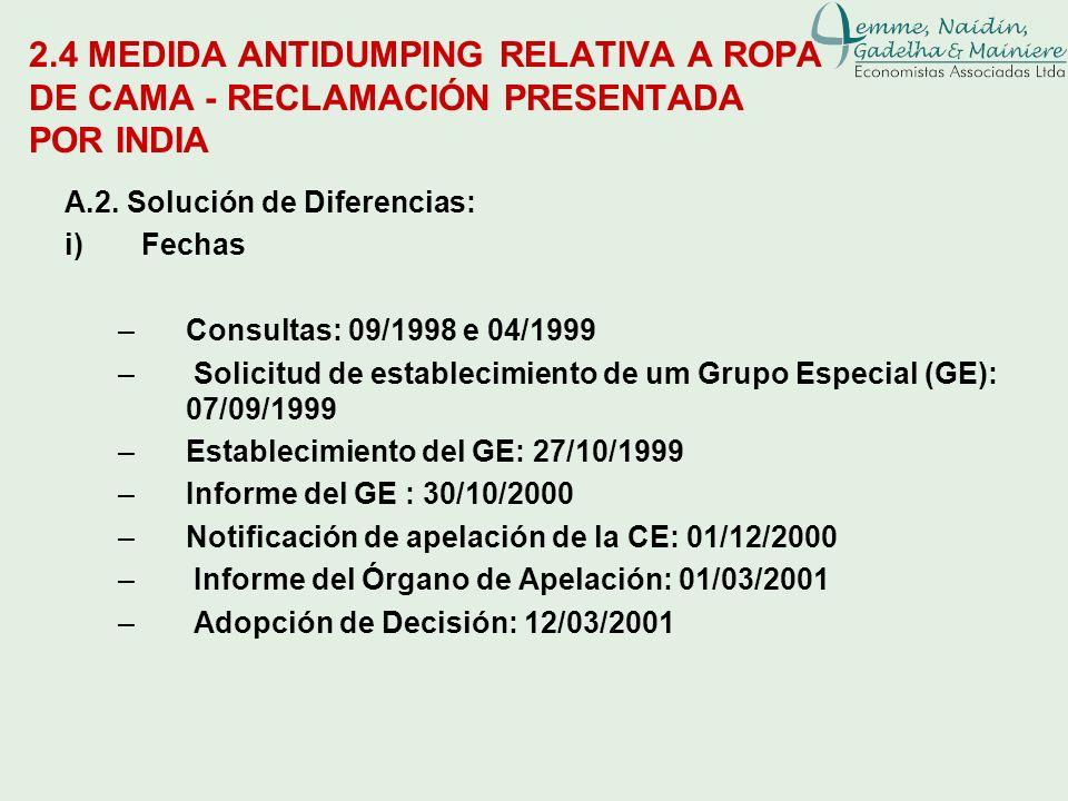 2.4 MEDIDA ANTIDUMPING RELATIVA A ROPA DE CAMA - RECLAMACIÓN PRESENTADA POR INDIA A.2. Solución de Diferencias: i)Fechas –Consultas: 09/1998 e 04/1999