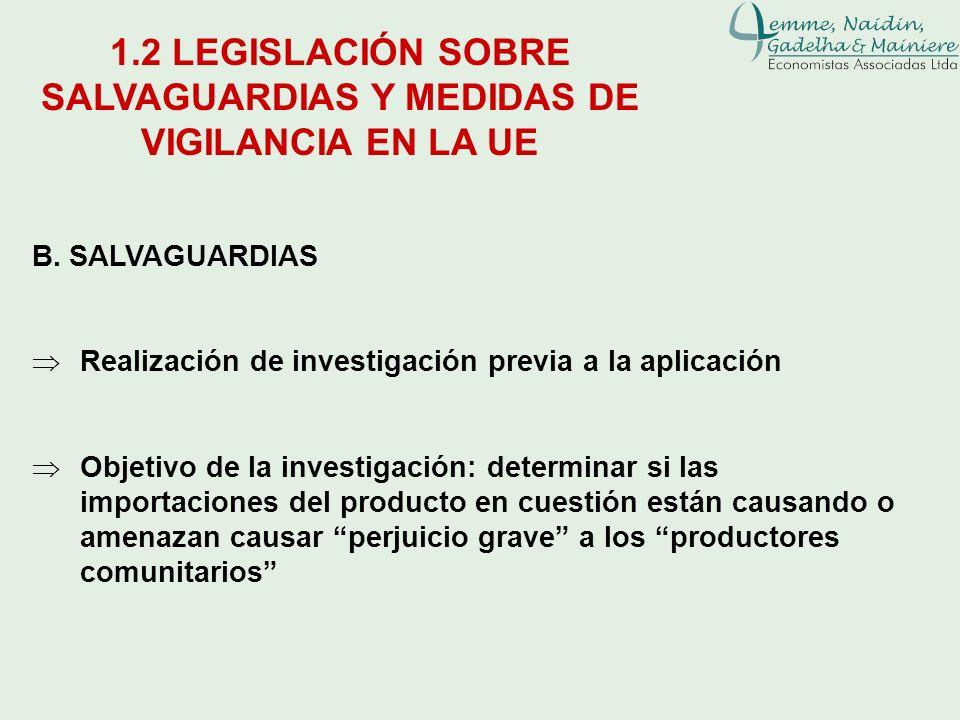 B. SALVAGUARDIAS Realización de investigación previa a la aplicación Objetivo de la investigación: determinar si las importaciones del producto en cue
