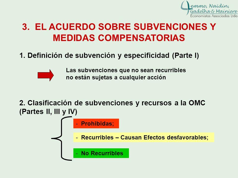 3. EL ACUERDO SOBRE SUBVENCIONES Y MEDIDAS COMPENSATORIAS 1. Definición de subvención y especificidad (Parte I) Las subvenciones que no sean recurribl