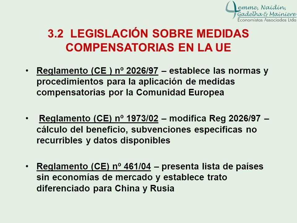 3.2 LEGISLACIÓN SOBRE MEDIDAS COMPENSATORIAS EN LA UE Reglamento (CE ) nº 2026/97 – establece las normas y procedimientos para la aplicación de medida