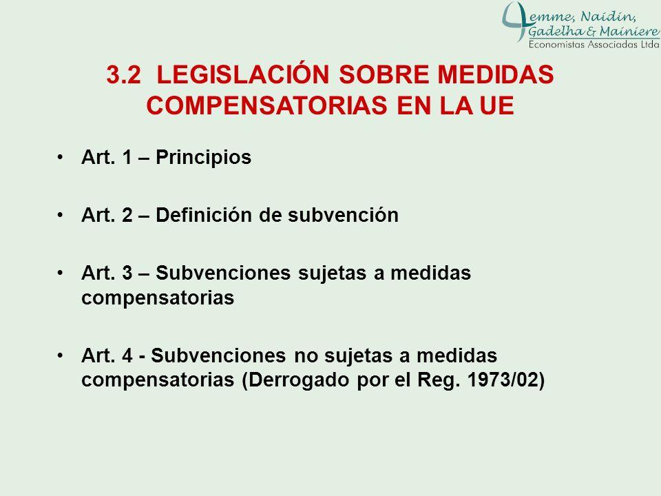 3.2 LEGISLACIÓN SOBRE MEDIDAS COMPENSATORIAS EN LA UE Art. 1 – Principios Art. 2 – Definición de subvención Art. 3 – Subvenciones sujetas a medidas co