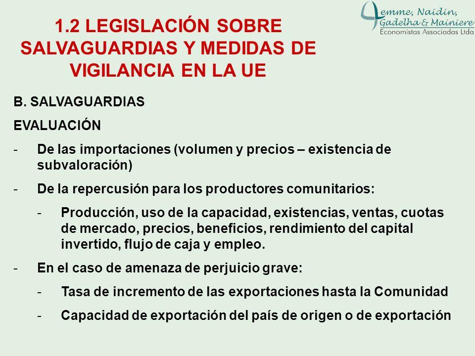B. SALVAGUARDIAS EVALUACIÓN -De las importaciones (volumen y precios – existencia de subvaloración) -De la repercusión para los productores comunitari