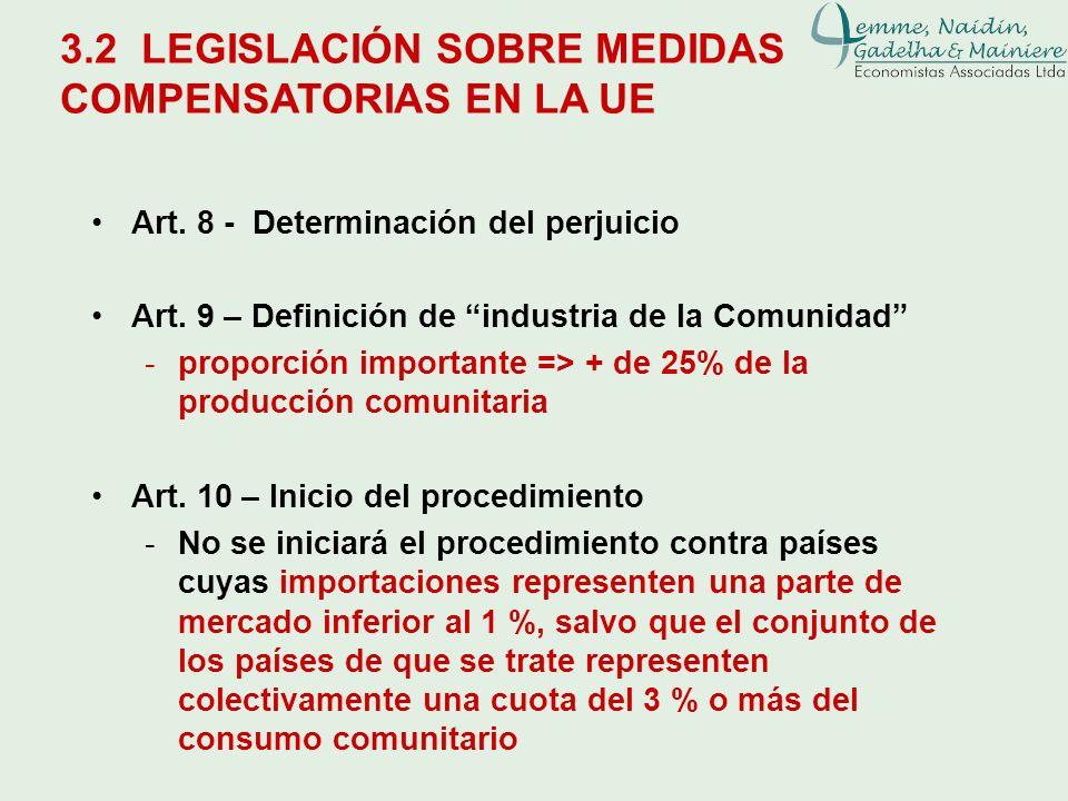 3.2 LEGISLACIÓN SOBRE MEDIDAS COMPENSATORIAS EN LA UE Art. 8 - Determinación del perjuicio Art. 9 – Definición de industria de la Comunidad -proporció
