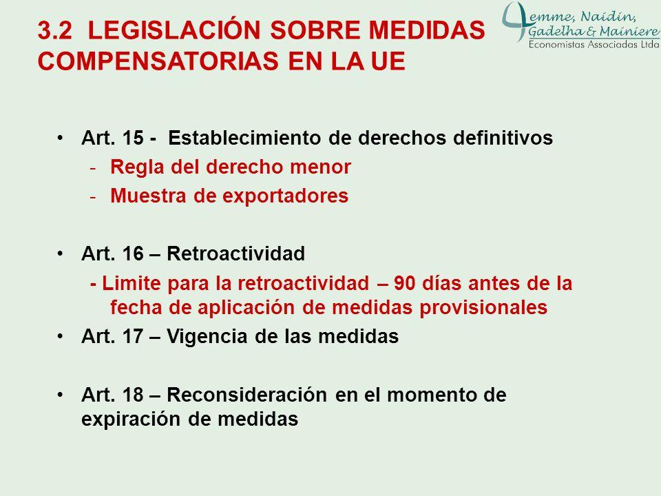 3.2 LEGISLACIÓN SOBRE MEDIDAS COMPENSATORIAS EN LA UE Art. 15 - Establecimiento de derechos definitivos -Regla del derecho menor -Muestra de exportado