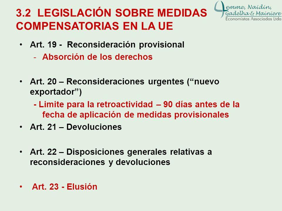 3.2 LEGISLACIÓN SOBRE MEDIDAS COMPENSATORIAS EN LA UE Art. 19 - Reconsideración provisional -Absorción de los derechos Art. 20 – Reconsideraciones urg