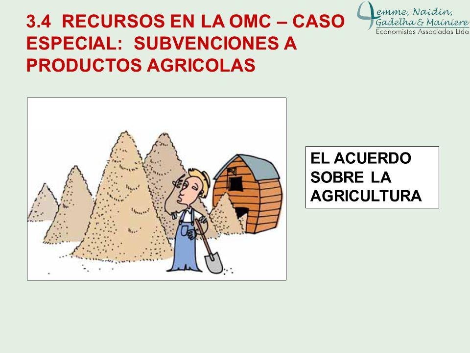 3.4 RECURSOS EN LA OMC – CASO ESPECIAL: SUBVENCIONES A PRODUCTOS AGRICOLAS EL ACUERDO SOBRE LA AGRICULTURA