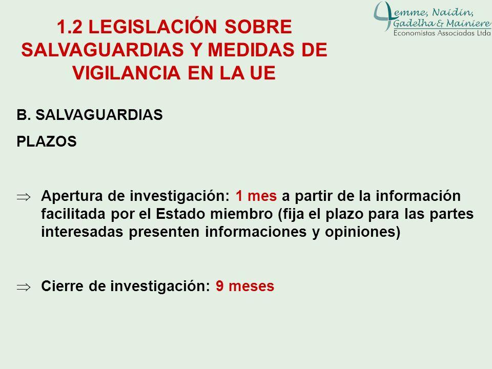 B. SALVAGUARDIAS PLAZOS Apertura de investigación: 1 mes a partir de la información facilitada por el Estado miembro (fija el plazo para las partes in