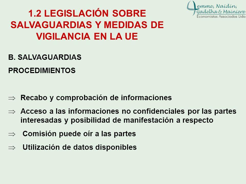 B. SALVAGUARDIAS PROCEDIMIENTOS Recabo y comprobación de informaciones Acceso a las informaciones no confidenciales por las partes interesadas y posib