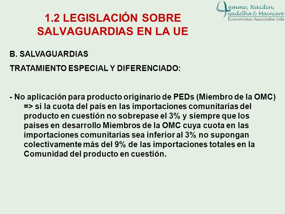 1.2 LEGISLACIÓN SOBRE SALVAGUARDIAS EN LA UE B. SALVAGUARDIAS TRATAMIENTO ESPECIAL Y DIFERENCIADO: - No aplicación para producto originario de PEDs (M