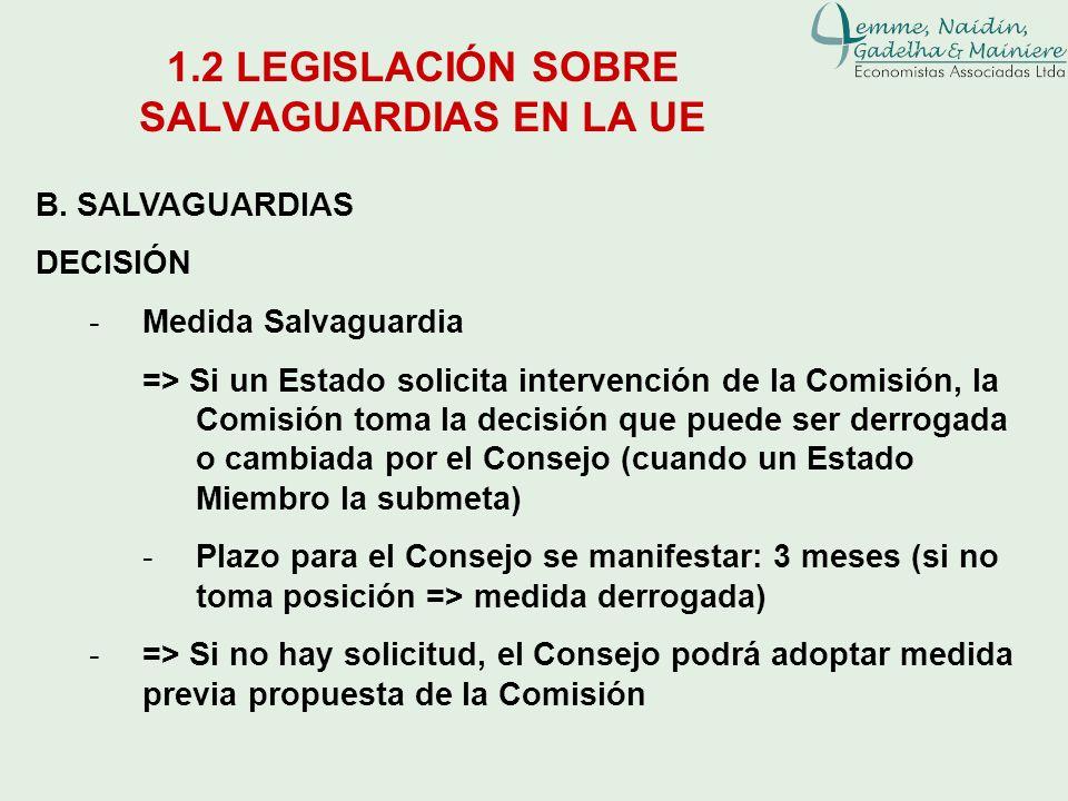 1.2 LEGISLACIÓN SOBRE SALVAGUARDIAS EN LA UE B. SALVAGUARDIAS DECISIÓN -Medida Salvaguardia => Si un Estado solicita intervención de la Comisión, la C
