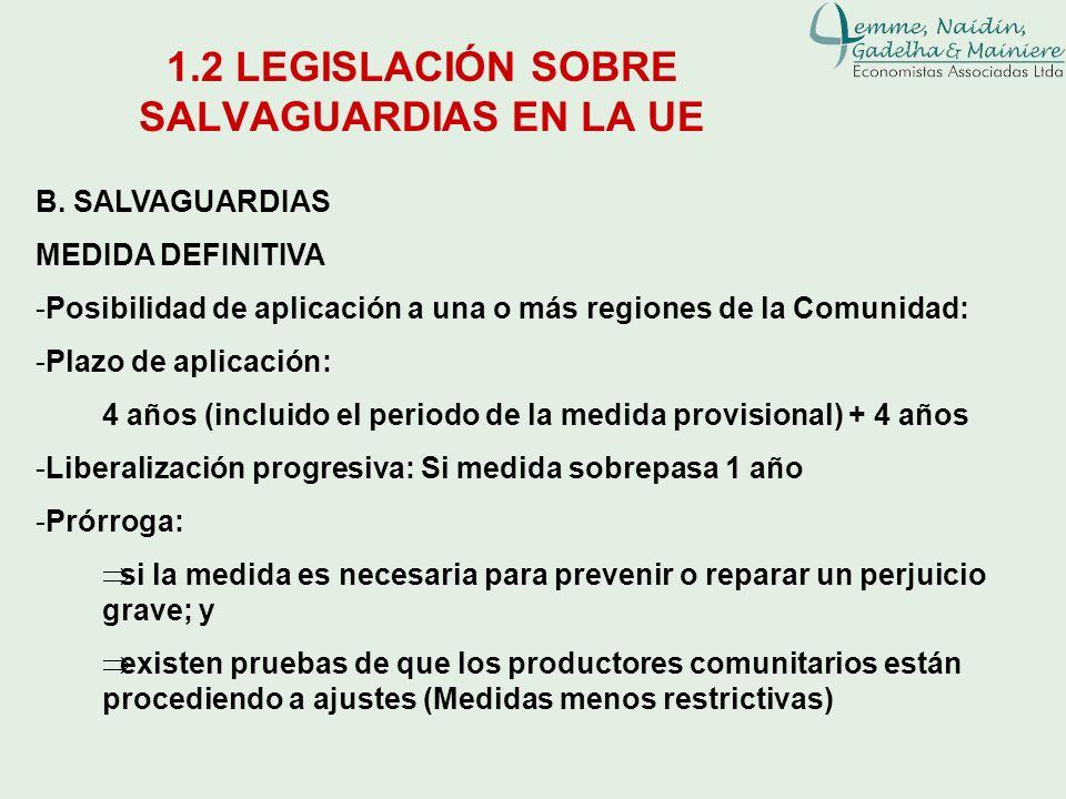1.2 LEGISLACIÓN SOBRE SALVAGUARDIAS EN LA UE B. SALVAGUARDIAS MEDIDA DEFINITIVA -Posibilidad de aplicación a una o más regiones de la Comunidad: -Plaz
