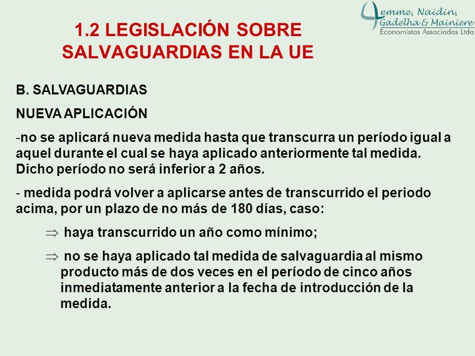 1.2 LEGISLACIÓN SOBRE SALVAGUARDIAS EN LA UE B. SALVAGUARDIAS NUEVA APLICACIÓN -no se aplicará nueva medida hasta que transcurra un período igual a aq