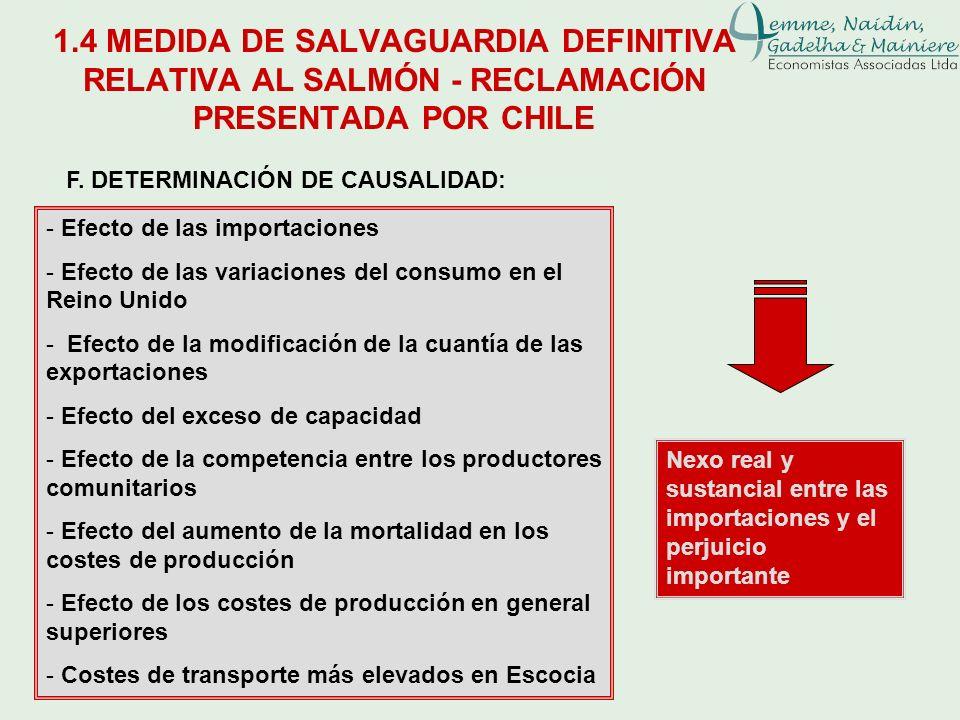 F. DETERMINACIÓN DE CAUSALIDAD: - Efecto de las importaciones - Efecto de las variaciones del consumo en el Reino Unido - Efecto de la modificación de