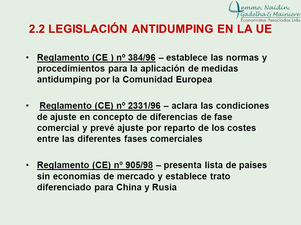 2.2 LEGISLACIÓN ANTIDUMPING EN LA UE Reglamento (CE ) nº 384/96 – establece las normas y procedimientos para la aplicación de medidas antidumping por