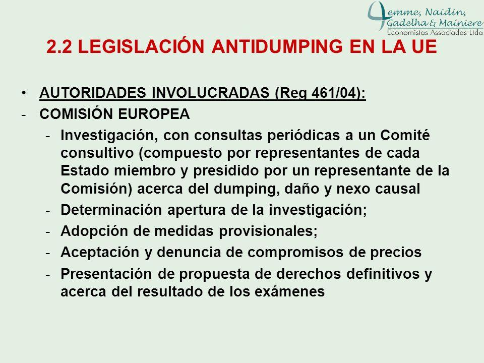 2.2 LEGISLACIÓN ANTIDUMPING EN LA UE AUTORIDADES INVOLUCRADAS (Reg 461/04): -COMISIÓN EUROPEA -Investigación, con consultas periódicas a un Comité con