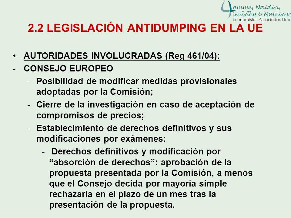 2.2 LEGISLACIÓN ANTIDUMPING EN LA UE AUTORIDADES INVOLUCRADAS (Reg 461/04): -CONSEJO EUROPEO -Posibilidad de modificar medidas provisionales adoptadas