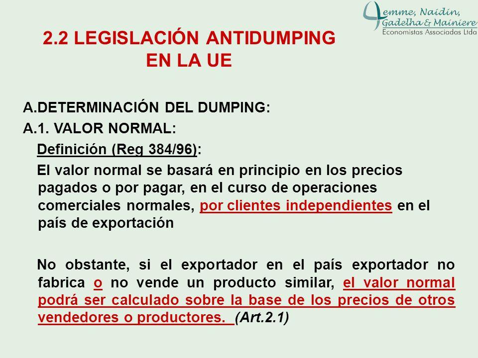 2.2 LEGISLACIÓN ANTIDUMPING EN LA UE A.DETERMINACIÓN DEL DUMPING: A.1. VALOR NORMAL: Definición (Reg 384/96): El valor normal se basará en principio e