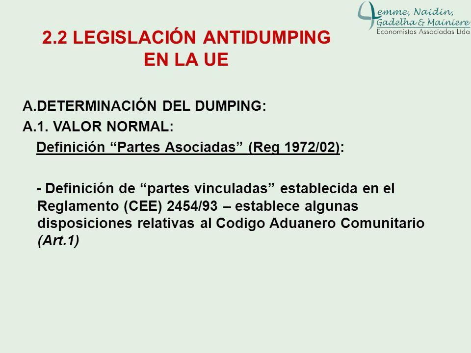A.DETERMINACIÓN DEL DUMPING: A.1. VALOR NORMAL: Definición Partes Asociadas (Reg 1972/02): - Definición de partes vinculadas establecida en el Reglame
