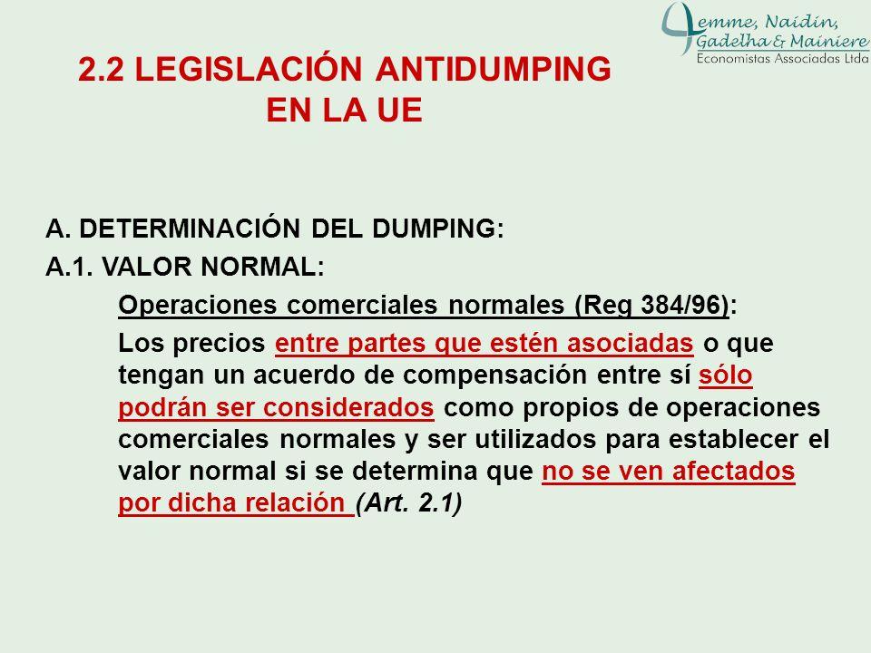 A. DETERMINACIÓN DEL DUMPING: A.1. VALOR NORMAL: Operaciones comerciales normales (Reg 384/96): Los precios entre partes que estén asociadas o que ten