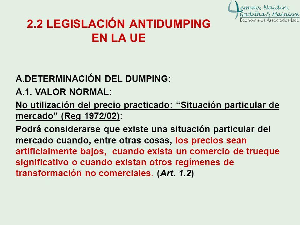 A.DETERMINACIÓN DEL DUMPING: A.1. VALOR NORMAL: No utilización del precio practicado: Situación particular de mercado (Reg 1972/02): Podrá considerars