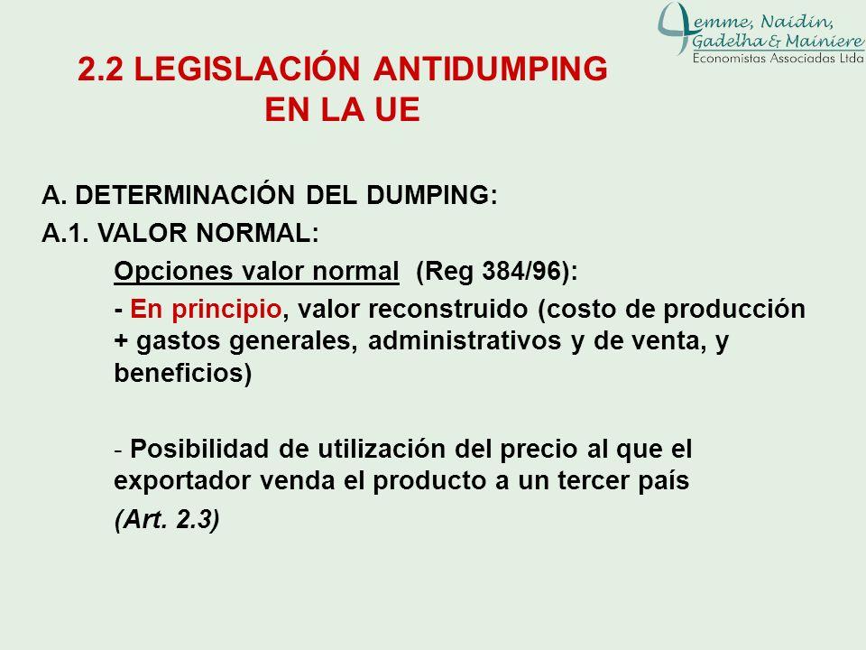 A. DETERMINACIÓN DEL DUMPING: A.1. VALOR NORMAL: Opciones valor normal (Reg 384/96): - En principio, valor reconstruido (costo de producción + gastos