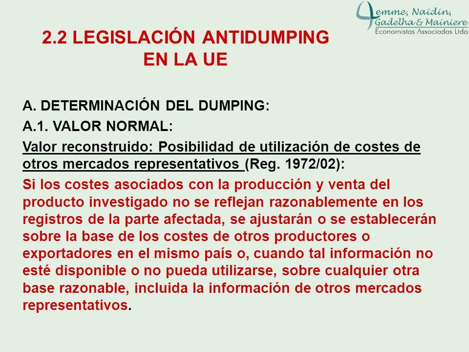 A. DETERMINACIÓN DEL DUMPING: A.1. VALOR NORMAL: Valor reconstruido: Posibilidad de utilización de costes de otros mercados representativos (Reg. 1972