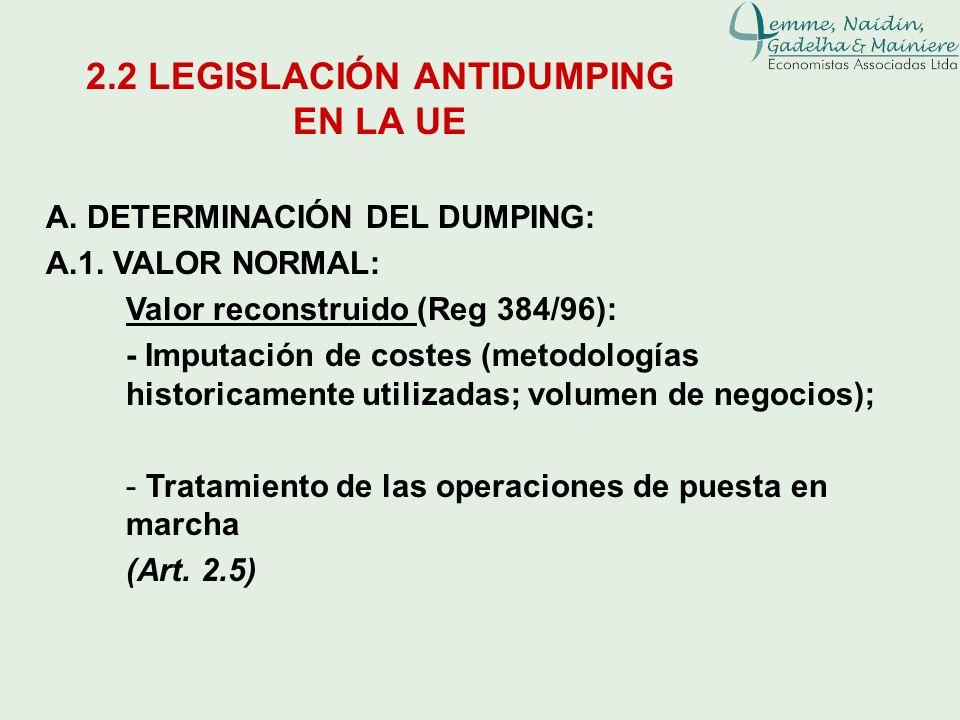 A. DETERMINACIÓN DEL DUMPING: A.1. VALOR NORMAL: Valor reconstruido (Reg 384/96): - Imputación de costes (metodologías historicamente utilizadas; volu