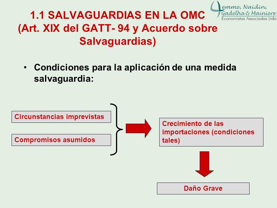 1.1 SALVAGUARDIAS EN LA OMC (Art. XIX del GATT- 94 y Acuerdo sobre Salvaguardias) Condiciones para la aplicación de una medida salvaguardia: Circunsta