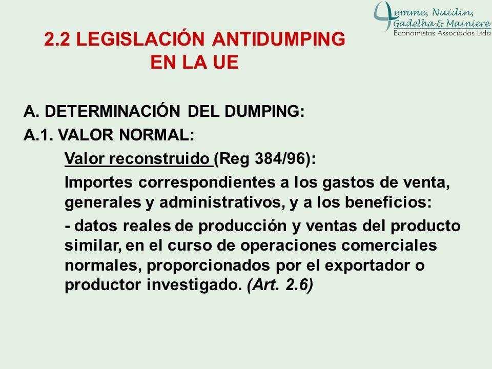 A. DETERMINACIÓN DEL DUMPING: A.1. VALOR NORMAL: Valor reconstruido (Reg 384/96): Importes correspondientes a los gastos de venta, generales y adminis