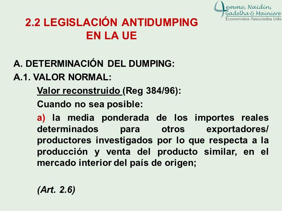 A. DETERMINACIÓN DEL DUMPING: A.1. VALOR NORMAL: Valor reconstruido (Reg 384/96): Cuando no sea posible: a) la media ponderada de los importes reales